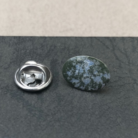 Hand enamelled lapel pin. Olive green & silver leaf.