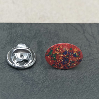 Hand enamelled lapel pin. Red, yellow, green mix