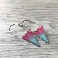 Pink & Turquoise Enamel Triangle on Sterling Silver hoop earrings