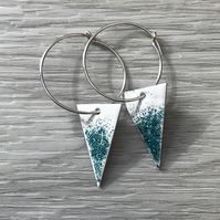 White & Turquoise Glitter Enamel Triangle on Sterling Silver hoop earrings