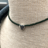 Dark green seed bead choker with sterling silver heart.
