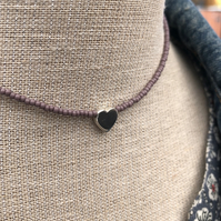 Lilac seed bead choker with sterling silver heart.