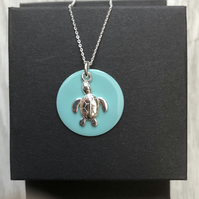 Turquoise Enamel Disc Sterling Silver Sea Turtle necklace