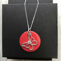 Sale now 13.00 - Strawberry Enamel Disc Sterling Silver Butterfly necklace