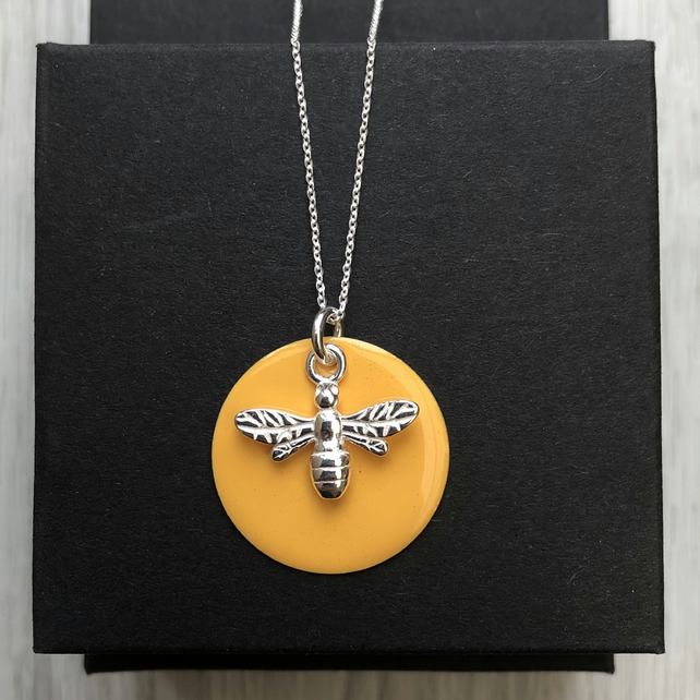 Mustard Yellow Enamel Disc Sterling Silver Bee necklace