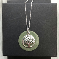 Olive Enamel Disc Sterling Silver Tree Of Life necklace