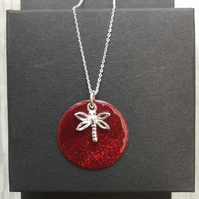 Sale now 12.00 - Red Glitter Mix Enamel Disc Sterling Silver Dragonfly necklace