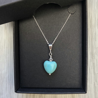 Turquoise Heart Necklace. Sterling Silver. Mother's Day special