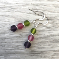Indian Glass & Sterling Silver Earrings. Pink purple & green