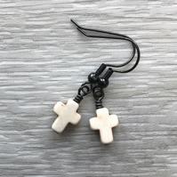 Antique white Howlite Cross Earrings. Black Brass Earrings