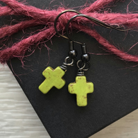 Olive Green Howlite Cross Earrings. Black Brass Earrings