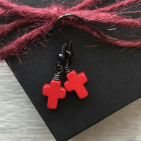Red Howlite Cross Earrings. Black Brass Earrings