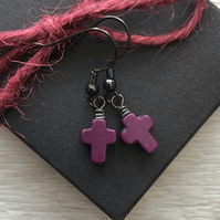 Purple Howlite Cross Earrings. Black Brass Earrings