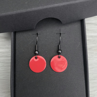 Strawberry enamel drop earrings. Sterling Silver upgrade available.