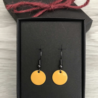 Yellow enamel drop earrings. Sterling Silver upgrade available.