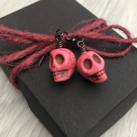 Pink candy skull earrings