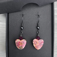 Ceramic heart with Swarovski Crystal earrings