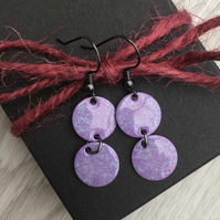 Double drop enamel earrings, purple & turquoise