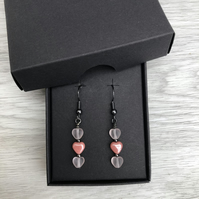 Pink Czech glass heart earrings