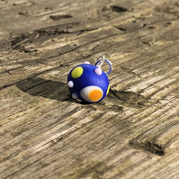 Blue lampwork glass pendant with sterling silver necklace