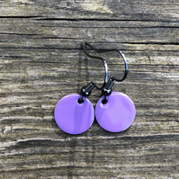 Purple enamel drop earrings. Sterling Silver upgrade available.