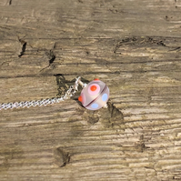 Pink, blue & orange lampwork glass pendant with sterling silver necklace