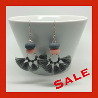 SALE...Grey tassel and lampwork glass drop earrings. Sterling silver.
