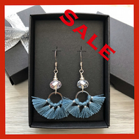 SALE..Denim blue tassel and crystal drop earrings. Sterling silver.