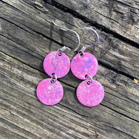 Pink mix geometric enamel earrings
