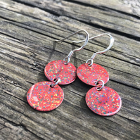 Red mix geometric enamel earrings