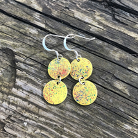 Yellow mix geometric enamel earrings