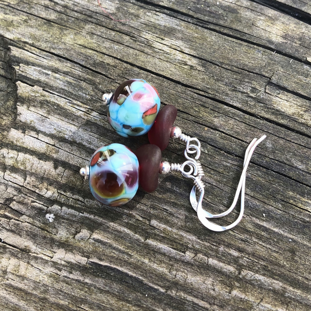 'Tutti fruity' Turquoise & red mix lampwork glass earrings. Sterling Silver