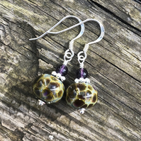 'Tortoise' lampwork glass earrings. Sterling Silver