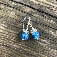 'Ocean' Turquoise lampwork glass earrings. Sterling Silver