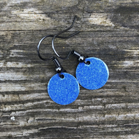 Blue mix enamel drop earrings. Sterling Silver upgrade available.