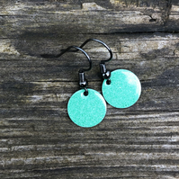 Green mix enamel drop earrings. Sterling Silver upgrade available.