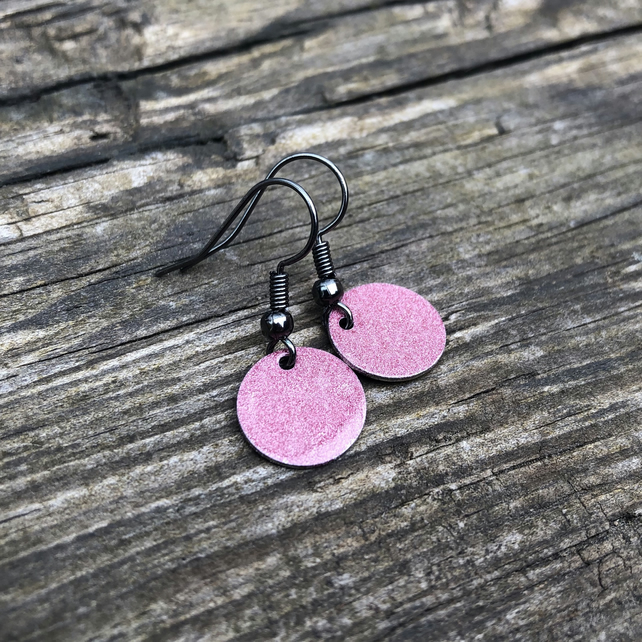 Raspberry enamel drop earrings. Sterling Silver upgrade available.