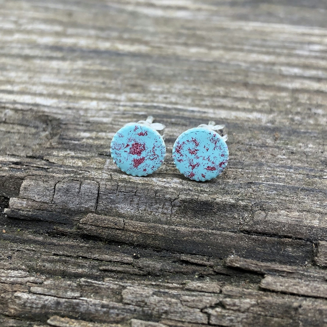 Turquoise & Raspberry Sterling Silver Hand Enamelled Stud Earrings.