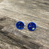 Blue, green, yellow & red Sterling Silver Hand Enamelled Stud Earrings.