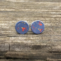 Mid blue, yellow & strawberry Sterling Silver Hand Enamelled Stud Earrings.