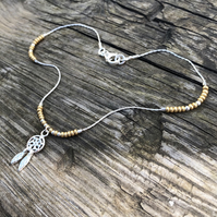 Dream catcher & gold seed bead floating anklet. Sterling silver.