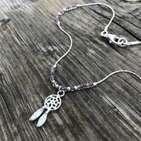 Dream catcher & purple seed bead floating anklet. Sterling silver.