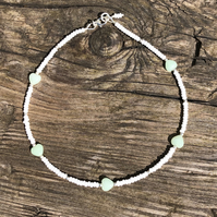 Green heart, seed bead and sterling silver anklet