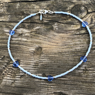 Blue heart, seed bead and sterling silver anklet