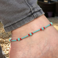 Turquoise and Red beaded anklet