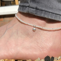 Cream seed bead with puffed heart charm anklet. Sterling silver anklet