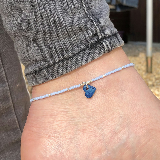Blue Greek heart, seed bead and sterling silver anklet