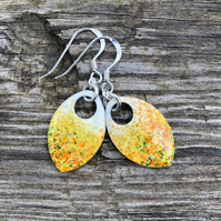 'Summer' enamel scale earrings. Sterling silver.