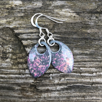 'Pink Delight' enamel scale earrings. Sterling silver.