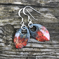 'Fire Flies' enamel scale earrings. Sterling silver.